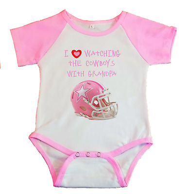 finest selection 66420 7f3a4 DALLAS COWBOYS JERSEY Baby Shirt Bodysuit Pink Love Watching with Grandpa