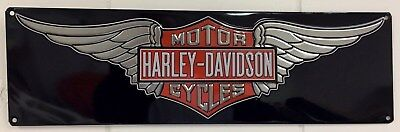 Ande Rooney HARLEY DAVIDSON H-D WINGS Banner Tin Motorcycle Garage Man Cave Sign