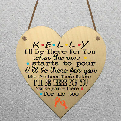 Personalised Heart Shaped Wooden Hanging Plaque Friends TV Show Present Gift