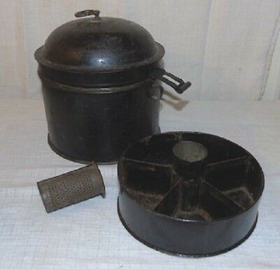 Rare Antique Victorian Toleware Two Tiered Spice Tin With Original Nutmeg Grater