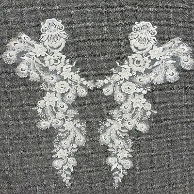 Beaded Blossom Lace Trim Off White Embroidery Applique Wedding Dress Motif 1 PC
