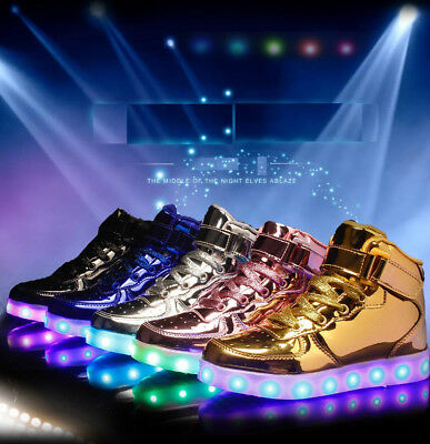 Fashion Kids Children Led Boys Girls Light Up Trainer Sneakers Casual Shoes UK