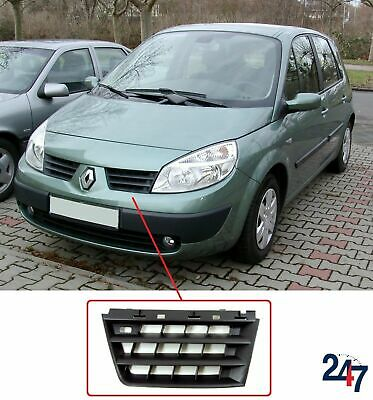New Renault Scenic 03 - 09 Front Bumper Grill Upper Top Black Plastic Left N/s