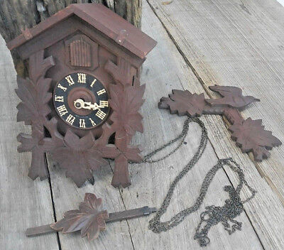 Antique German Cuckoo Clock OLD Uhr AS IS for repair dark wood
