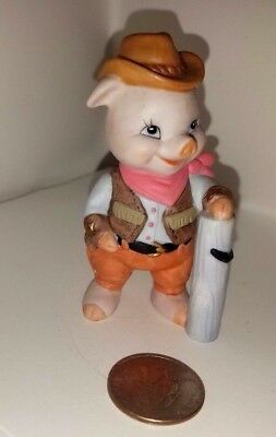 Pig in Cowboy Suit, ceramic, 1995, stamped, dated