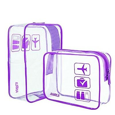 Clear Toiletry Bag ANRUI TSA Approved Travel Carry On Airport Airline Pack Of 2