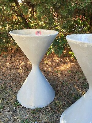 2 Willy Guhl Concrete Diabolo Planter 60s Swiss Mid Century Spindle Eames Er Bee