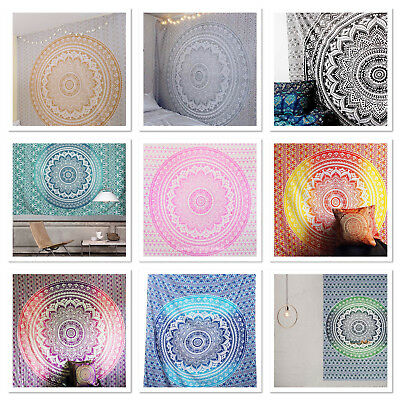 Large Indian Ombre Tapestry Wall Hanging Mandala Hippie Bedspread Throw Cover