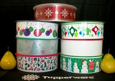 Tupperware Christmas Holiday One Touch 9 ½ cup Stacking Cookie Canisters CHOICE