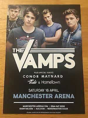 THE VAMPS - 1 x DOUBLE SIDED A5 UK TOUR CARD FLYER FOR MANCHESTER ARENA 16/04/16