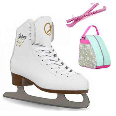 SFR White Galaxy Girls Figure Ice Skate Package - Skates, Snowflake Bag+Guards
