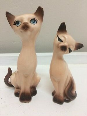 Vintage Siamese cat salt & pepper shakers Kitsch 60s Japan Gempo Ware , Napco