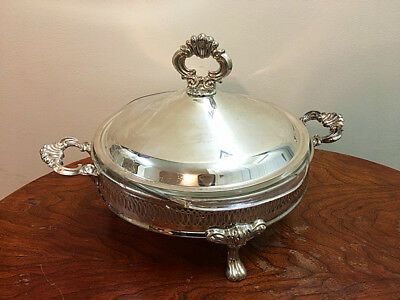 Vintage covered Silver Plate Serving Dish Bowl with Pyrex Bowl--dinning set