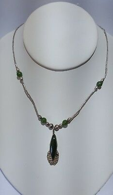 Gorgeous Sterling Silver 925 Jade Necklace W/ Large Marquise Shape Jade Pendant
