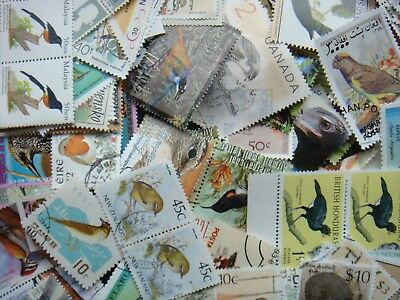 50 BIRDS Stamps Thematic/s All Different World Mixed CTO's/Genuine Postage