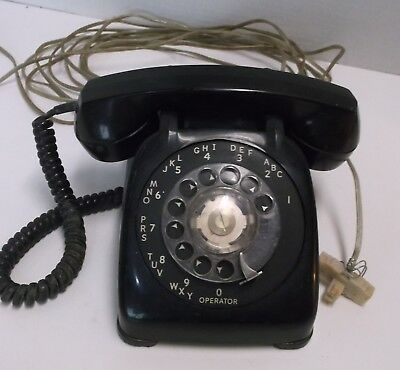 Vintage Automatic Electric Northlake Illinois Black Rotary Dial Telephone Phone