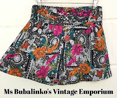 Vintage 90s Abstract Floral Wide Leg Shorts Size 10 12 Ibiza Festival Summer
