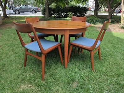 Mid-Century Teak Dining Room Set Erik Christensen Table & 4 Boomerang Chairs