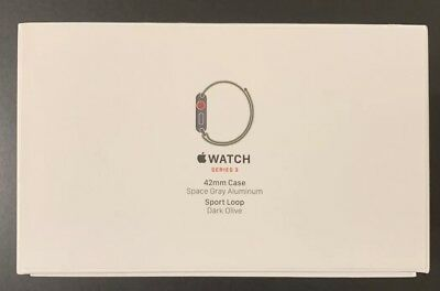 Apple Watch Series 3 42mm Space Aluminum Cellular Sport Loop Dark Olive BOX ONLY