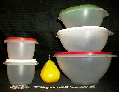 Tupperware 5 SHEER Servalier Bowls ~12c ~8c ~6c ~20oz ~RED GREEN WHITE Holiday