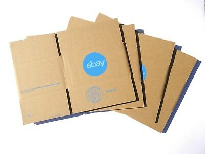 "(4) Four-pack eBay-Branded Boxes With Blue 2-Color Logo 8"" x 6"" x 4"" (qty 4)"