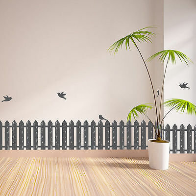 Picket Fence Birds Wall Border Decals Decorations Room Decor