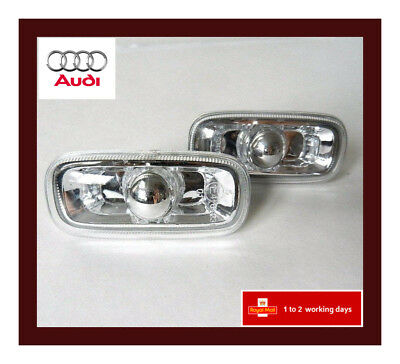 AUDI A3 A4 A6 Side Repeater Indicator Clear Light Pair Set New - UK Seller