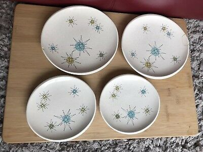 "Lot Of Franciscan Atomic Starburst 6 1/2"" Bread And Butter & 8"" Salad Plates"