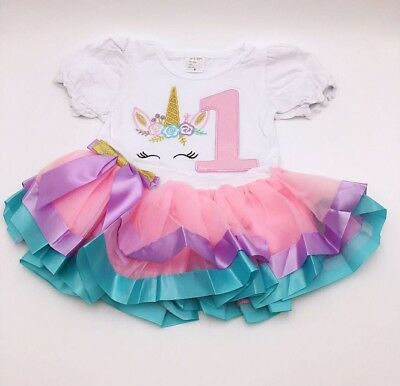 Unicorn Baby Girls Birthday Party Outfit Dress 1year Old