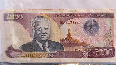 1997 Laos Bank Note 5000 Kip