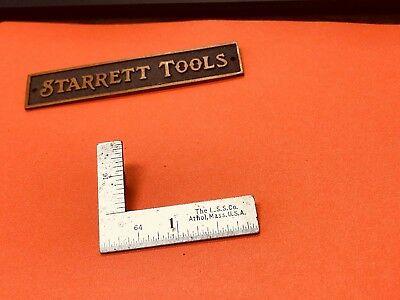Vintage L.S. Starrett No.21  2 x 1 Inch Thin Steel Try-Square. Made in the USA.