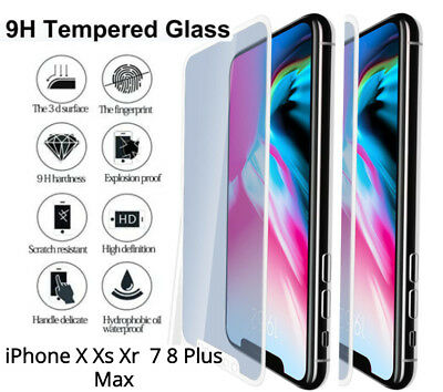 Premium 9H iPhone Tempered Glass Screen Protector For Apple X Xr Xs 7 8 Plus Max