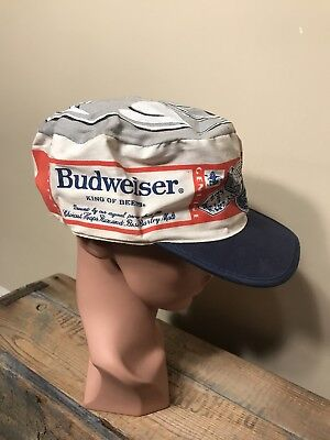 VINTAGE Genuine BUDWEISER Beer CAN Crowd Cap PAINTERS HAT rare bud light 80s 90s