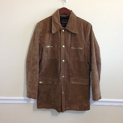 Vtg 60s/70s Towncraft Fleece Lined Faux Suede Snap Front Jacket - Medium - EUC