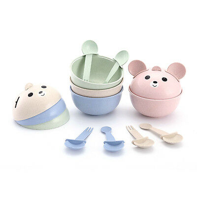Cute Cartoon Baby Kids Food Bowl Spoon Set Toddler Feeding Tableware Dinnerware