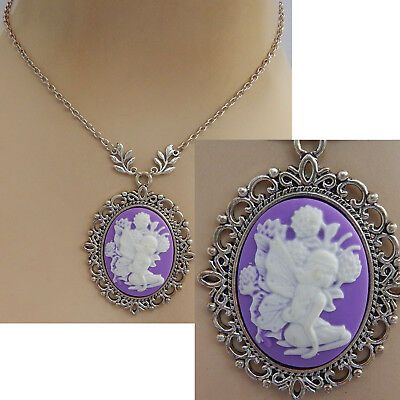 Fairy Necklace Cameo Pendant Jewelry Handmade NEW Chain Fashion Silver Women