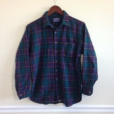 Vintage Pendleton Tartan Plaid All Wool Shirt - Size Large - Made in USA
