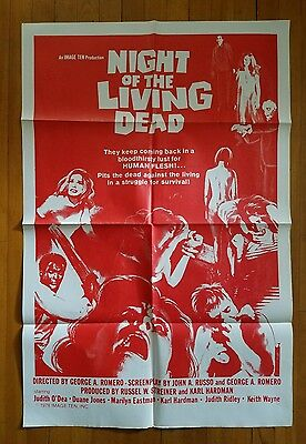"""NIGHT OF THE LIVING DEAD R'1978 Original 27""""x41"""" one-sheet poster Romero zombies"""