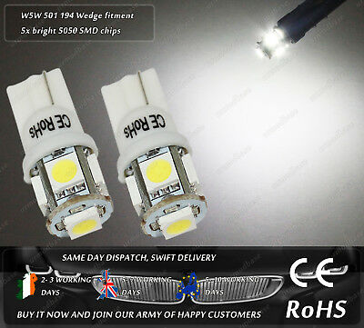 W5W T10 Wedge Xenon White LED SMD Car Front Side Lights Parking Bulbs Sidelights