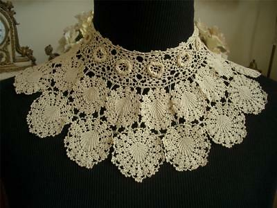 Dainty Handmade Antique Vtg Irish Crochet Lace Collar Dress Front