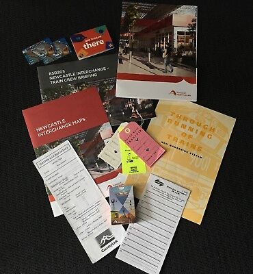XPT, Trainlink NSW Trains tags,phone card,map,interchange booklet,cards,menu.