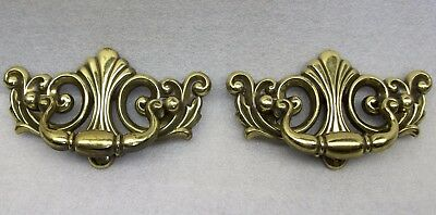 Vintage KBC Drawer Cabinet Pulls Drop Handle Brass Finish 41086 Set of 2