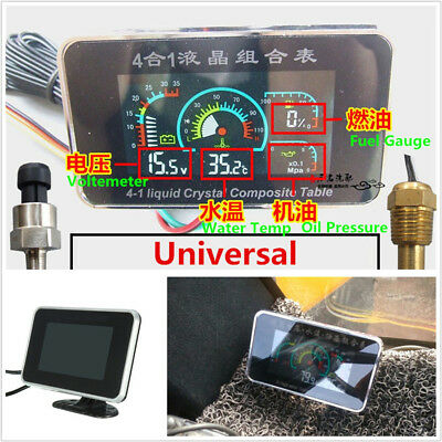 Multifunctional 4in1 Car Oil Pressure+Water Temp+Volt+Oil Fuel LCD Gauge Meter*1