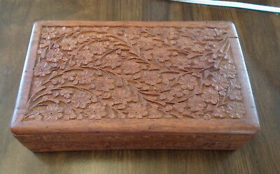 Vintage Rosewood Hand Carved Jewelry Box