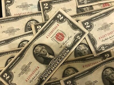 1953 $2 DOLLAR US NOTE LEGAL RED SEAL  > ONE Random OK Condition Bill