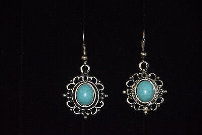 Real Natural TURQUOISE Stone ~ Antique SILVER Plated ~ Dangle EARRINGS ~ New
