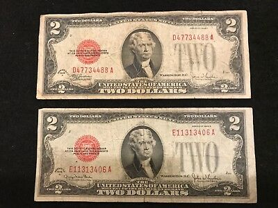 1928  F & G SERIES $2 RED SEAL Legal Tender UNITED STATES NOTE Paper Money  E11