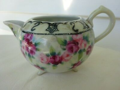 Antique Hand Painted Nippon Creamer Porcelain Gilt Moriage Pink Roses 3 Footed