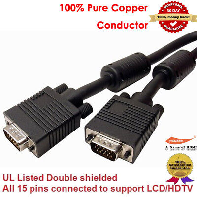 Shielded 25ft HD15 Male to Male Heavy Duty VGA SVGA Monitor Cable w//Ferrite Core