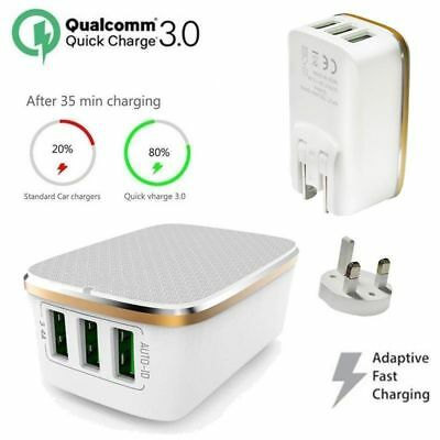 Quick Charge 3.0 3-Port USB 5V 3.4A Phone Wall Home Travel Fast Charger Adapter